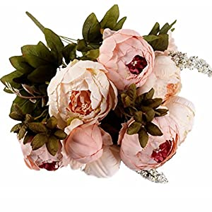 JAROWN 9 Heads Silk Peony Artificial Flowers Fake Bouquets Arrangement for Party Wedding Room Decoration 67