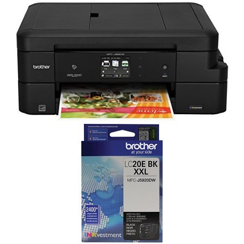 Brother MFC-J985DW Work Smart All-in-One with INKvestment Cartridges and Brother LC20EBK Super High Yield Black Ink Cartridge Bundle by Brother