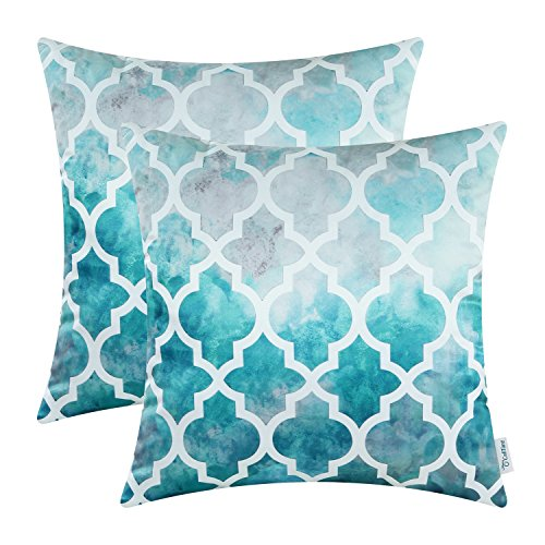 Pack Of 2 CaliTime Silky Throw Pillow Covers Cases For Couch Sofa Home Decor,  Tie Dyed Style Modern Quatrefoil Trellis Chain Geometric, Gray/Teal