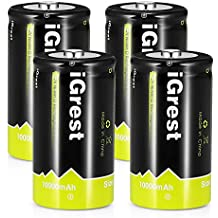 iGrest Rechargeable D Batteries 10000mAh Ni-MH D Size Cell Battery with Box (4 Pack)
