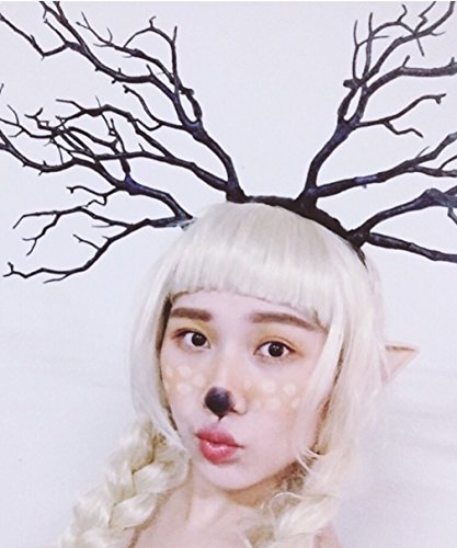 Forest Fairy Witch Antlers Hair Band Headband Cosplay Fancy Dress Clothes Halloween Christmas Photo Shoot Props,Blue-Black Simulation Tree Branch # 2