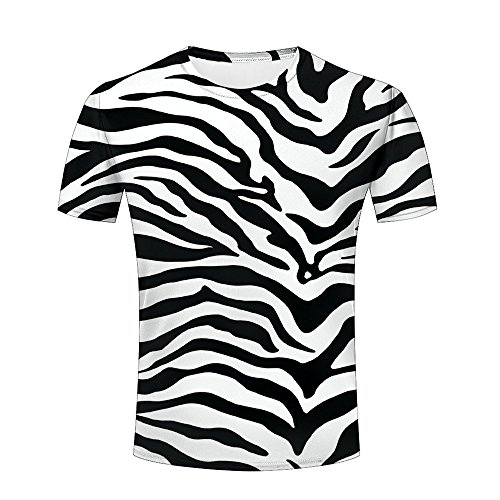 (liangjinyan 3D Men T Shirt Texture Zebra Stripes Printed Tops Tees Graphics Pattern)