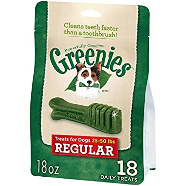 GREENIES Dental Dog Treats, Regular, Original Flavor, 18 Treats, 18 oz.
