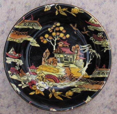 "ROYAL WINTON Grimwades BLACK PEKIN Fruit BOWL Dish Gold Trim 5-1/4"" Diameter HAND PAINTED (1951 England)"
