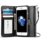 iPhone 7 Case, J&D [Wallet Stand] [Slim Fit] Heavy Duty Protective Shock Resistant Flip Cover Wallet Case for Apple iPhone 7 - Black