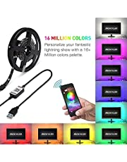 أضواء شريط متغيرة الألوان 2 متر من Mainstayae LED للتلفزيون بإضاءة خلفية USB RGB شريط إضاءة مع جهاز تحكم BT للهواتف الذكية شريط LED لإضاءة المنزل وسرير المطبخ