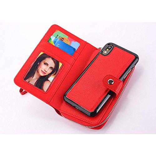 Samsung A7 2017 Detachable Zipper Wallet Case, Vandot Billetera Caja del Teléfono Desmontable Multifunción Monedero de PU Cuero con Cremallera Bolsillo y Ranura para Tarjeta Soporte Correa para Muñeca Zipper-06