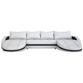 Wohnlandschaft Weiss Schwarz In Leder Optik Edle Designer Couch Mit