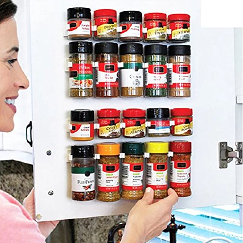 4 Strips Universal Spice Strips Gripper Clips, Cabinet Spice Jar Holders, Kitchen Bottle Jars Store Rack-Holds 20 Jars