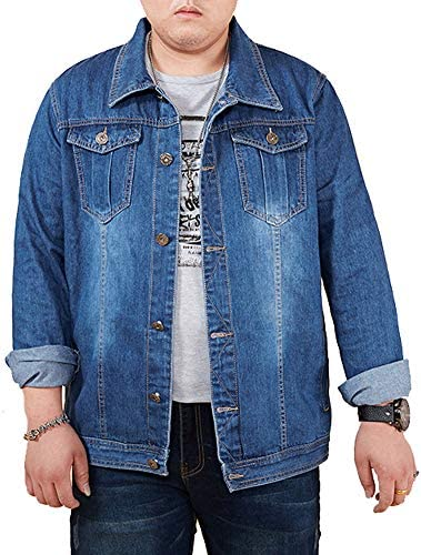 YUNY Mens Rugged Wear Original Fit Jean Shirt with Chest Pocket Blue M