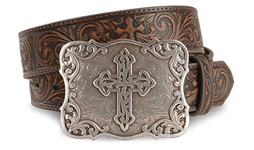 Nocona Women's Embossed Leather Cross Buckle Belt Brown Medium