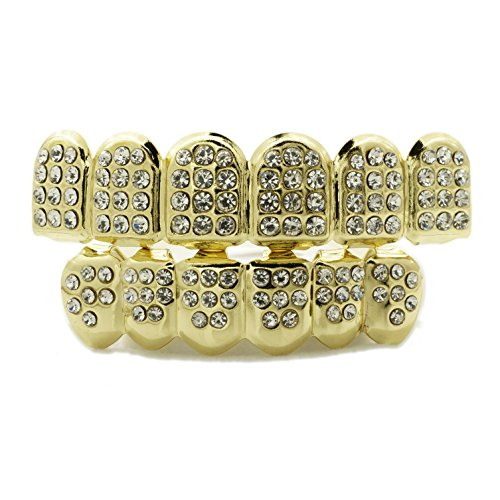 [14K Gold Plated ICED OUT CZ GRILLZ Top Bottom SET (Top and Bottom Set)] (Gold Grill Costume)