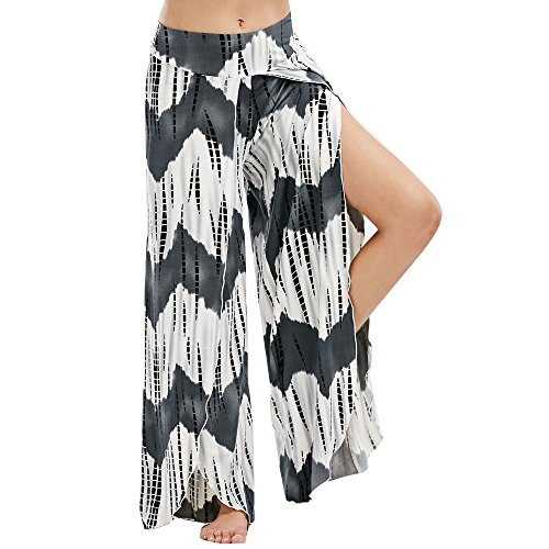 ZEFOTIM Sexy Waist Wide Leg Flowy Pants Women Casual Summer Long Loose Yoga Pants (M,Black-1 )