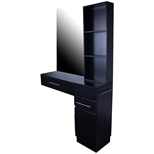 Icarus Irvine Pre-Assembled Single Drawer Wall Mount Beauty Salon Hair Styling Station With Cabinet and 3 Tier Shelf