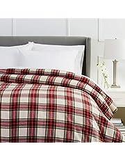 Pinzon Plaid Flannel Duvet Cover - Full or Queen, Cream and Red Plaid
