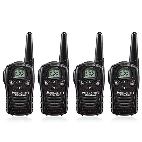 Midland LXT118 FRS Walkie Talkies with Channel Scan - Up to 18 Mile Range Two Way Radio - Black (Pack of 4)