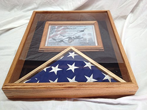 - 3x5 Flag Display Case With Certificate & Document Holder Solid Hard Wood