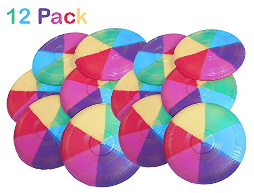 Mini Rainbow Flying Disks 3.5 Inches - Pack Of 12 - Cool Rainbow Colors Mini Frisbees – Outdoor Toys - For Kids Great Party Favors, Bag Stuffers, Fun, Toy, Gift, Prize – By Kidsco by Kidsco