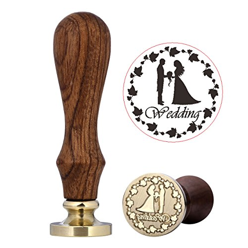 Wedding Wax Seal Stamp, Vintage Retro Sealing Wax Stamp with Classic Wooden Handle Perfect for Embellishment of Cards, Envelopes, Wedding Invitations by Mornajina ()