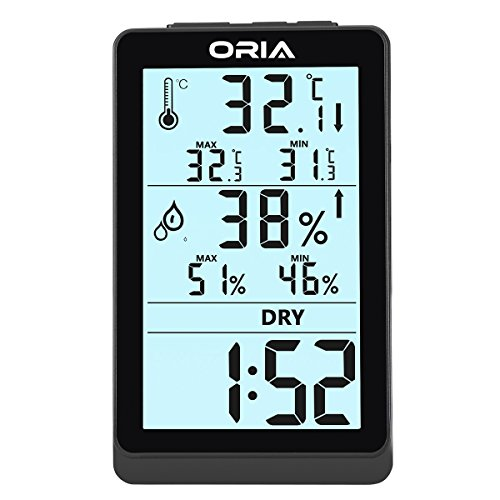 ORIA Digital Hygrometer Thermometer, Indoor Humidity Monitor, LCD Screen Thermometer with Min/Max Records & Clock Display, Black (Outdoor Clocks And Temperature Gauges)