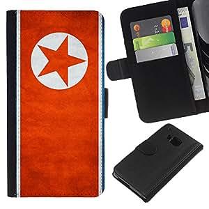 eJoy---La carpeta del tirón la caja de cuero de alta calidad de la PU Caso protector - HTC One M7 - --North Korea Grunge Flag
