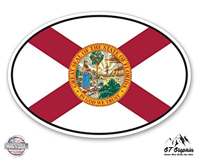 Florida State Flag Oval - Vinyl Sticker Waterproof Decal