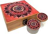 Orange Mandala Stash Box Combo - Includes Titanium Herb Grinder and Stash Jar and Rolling Tray - Large Wood Stash Boxes (Orange Mandala)