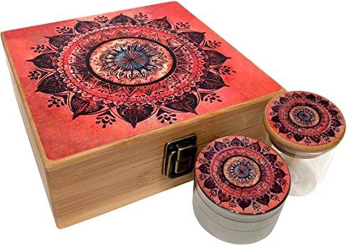 (Orange Mandala Stash Box Combo - Includes Titanium Herb Grinder and Stash Jar and Rolling Tray - Large Wood Stash Boxes (Orange Mandala))