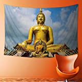 SOCOMIMI Tapestry Wall Hanging The Biggest Golden Indian Statue at The Temple in Thai Oriental Sage Asian Home Decorations for Bedroom Dorm