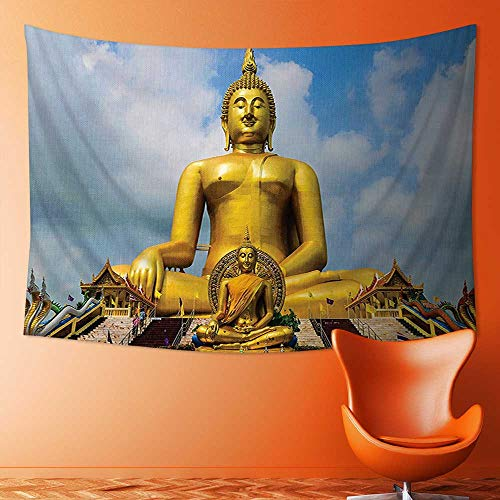 L-QN Tapestry Wall Hanging Decor The Biggest Golden Indian Statue at The Temple in Thai Oriental Sage Asian Home Hippie Bohemian Tapestry for Dorms by L-QN