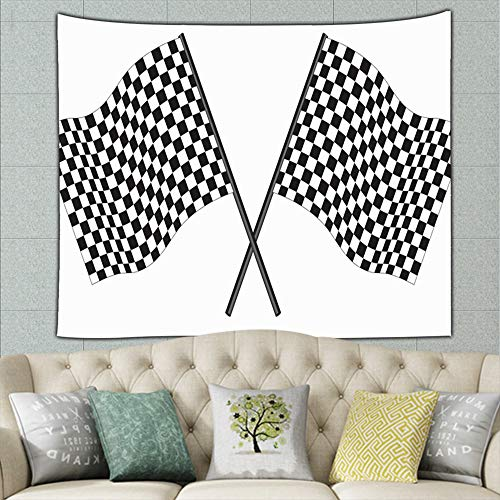zuo chunhong5 Black White Checked Racing Flag Abstract Flag Abstract Illustrations Clip Art Flag Illustrations Clip Art Mural for Bedroom Living Room Dorm Home Décor 50ʺ × 60ʺ