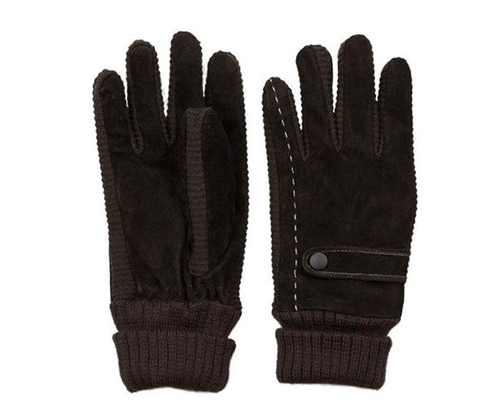 WodCht Warm Winter Men Gloves Wrist Black Solid Color Thicken Knitted Pigskin Genuine Leather Glove