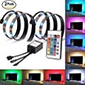 LIVEHITOP Bias Lighting TV Backlight for HDTV, 2 RGB Mood Light kit Multi Color For Home TV Theater PC Screen, 2 x 19.7 inches Strips