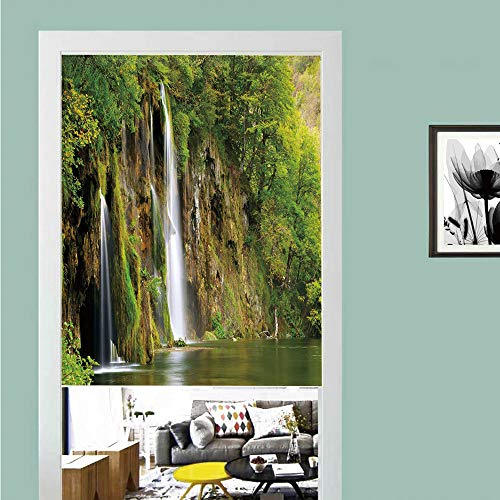(3D printed Magic Stickers Door Curtain,Nature,Majestic Waterfall Flowing down to River in National Park Fresh Landscape Decorative,Green Brown White ,Privacy Protect for Kitchen,Bathroom,Bedroom(1)