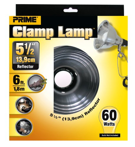 Prime CL060506 Reflector Clamp Lamp with 6-Feet 18/2 SPT-2 Cord, 5.5-Inch