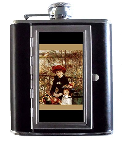 (Renoir On the Terrace Impressionist Art 5oz Stainless Steel & Leather Hip Flask with Built-In Cigarette Case)