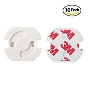 esky24 Lot de 10 Sécurité ENFANT pour toutes les prises avec standard cache-prises à mécanisme tournant pour bébé et enfant