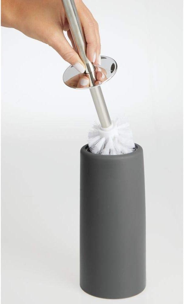 mDesign Scopino bagno Portascopino resistente igienico e durevole Moderno scopettino WC in metallo e plastica crema e argento opaco