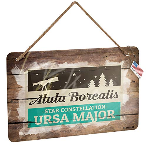 NEONBLOND Metal Sign Star Constellation Name Ursa Major - Alula Borealis� Christmas Wood Print