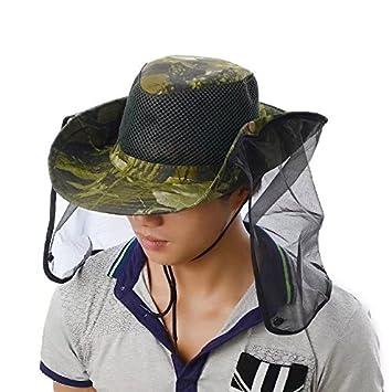 vrcoco antimosquitos máscara sombrero con ala ancha de cabeza Net malla  cara al aire libre camuflaje d3e8f0bbae4