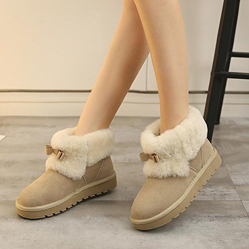 boots NSXZ winter Leather skid women warm wool fashion 120W BEIGE boots snow 6I6pnUr