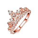 Pink Opal Rose Gold Plated Asscher-Cut Swarovski Zirconia Antique Ring Set Crystal Statement Rings for Women