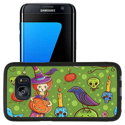 [Luxlady Premium Samsung Galaxy S7 Edge Aluminum Backplate Bumper Snap Case IMAGE ID: 32569965 Cute cartoon colorful halloween vector seamless pattern with girl dressed as a witch ghost] (Cute Halloween Ghost Clip Art)