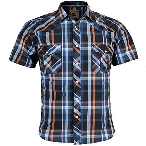 Coevals Club Men's Snap Button Down Plaid Short Sleeve Work Casual Shirt (Blue & Orange #5, 3XL)