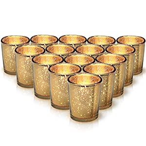 Granrosi Gold Mercury Votive Candle Holder Set of 15 - Made of Mercury Glass with A Speckled Gold Finish