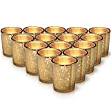 Granrosi Gold Mercury Votive Candle Holder Set of 15 - Speckled Gold Finish Mercury Glass - Adds The Perfect Ambience to Your Wedding/Home Decor
