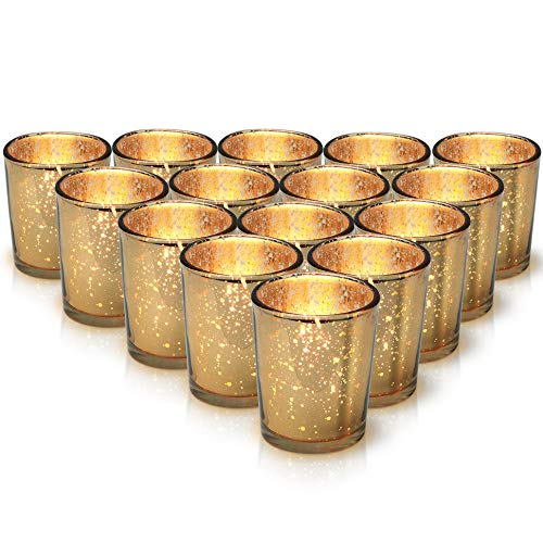 Granrosi Gold Mercury Votive Candle Holder Set of 15 - Made of Mercury Glass with A Speckled Gold Finish - Adds The Perfect Ambience to Your Wedding Decorations Or Home -
