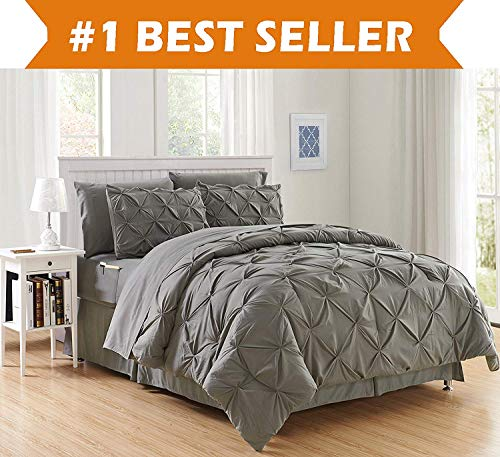 Luxury Best, Softest, Coziest 8-Piece Bed-in-a-Bag Comforter Set on Amazon! Elegant Comfort - Silky Soft Complete Set Includes Bed Sheet Set with Double Sided Storage Pockets, Full/Queen, Gray ()