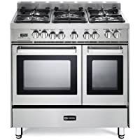 Verona VEFSGE365NDSS 36 Pro-Style Dual-Fuel Range with 5 Sealed Burners, 2 European Convection Ovens, Multi Function Programmable Ovens and Storage Drawer: Stainless Steel