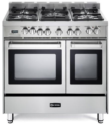 Verona VEFSGE365NDSS 36'' Pro-Style Dual-Fuel Range with 5 Sealed Burners, 2 European Convection Ovens, Multi Function Programmable Ovens and Storage Drawer: Stainless Steel by Verona